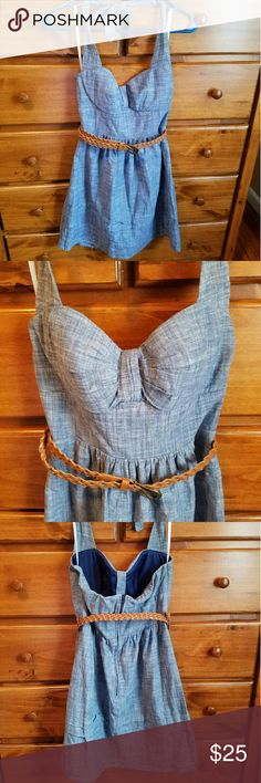 Cute denim halter dress Halter summer dress in excellent condition! It looks like denim but is much softer and mostly cotton. The top is form fitting and the bottom flares off a little bit. Dresses Midi