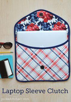 Laptop Sleeve Clutch Sewing Pattern & Tutorial