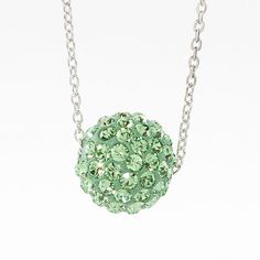 """Peridot crystal Ceralun™ pavé ball swings on a delicate rhodium plated chain; 15"""" to 18"""". #august#birthstone"""