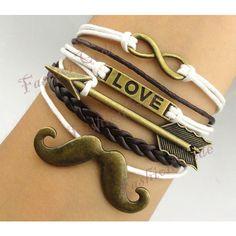 Infinity, Love, Arrow & Mustache Bracelet--Antique Bronze... ($7.99) ❤ liked on Polyvore