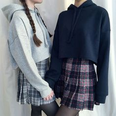 i like the over-hoodie with the skirts :) #tennisskirt cropped hoodie and plaid skirts would look good with high socks and sneakers