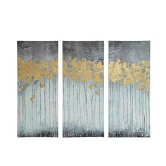 The Madison Park Forest Gel Coat Canvas with Gold Foil Embellishment is a triptych set which will add style and sophistication to your living room. The set incorporates beautiful blues and greys with hand applied gold foiling for added dimension. Tree Canvas, Canvas Wall Art, Canvas Prints, 3 Piece Canvas Art, 3 Piece Painting, Painting Prints, Fox Painting, Floral Paintings, Landscape Paintings