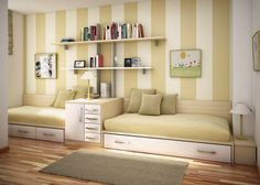 like the paint stripes on the wall. decorate bunk beds | Room decorating ideas bunk beds3