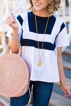 English Factory Navy and White Tanner Knit Top + Clare V. Alice Bag in Blush f1a73f7843a7