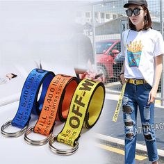 Wish   Women Canvas Belt Fashion Accessories OFF-WHITE Embroidery Unisex Long Waistband