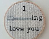 I forking love you - pdf pattern only (funny / comical / rude cross stitch). £1.50, via Etsy.