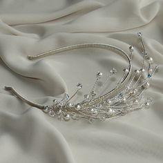 BRIONY Wedding tiara SWAROVSKI crystals, Bridal tiara, Vintage tiara, Handmade tiara, Pearls