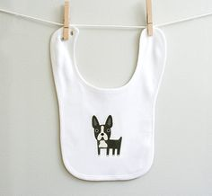 boston terrier organic cotton baby bib #methodholidayhappy