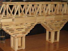 Letter B- block bridges Wooden Building Blocks, Wooden Blocks, Jenga Blocks, Popsicle Stick Bridges, Warren Truss, Block Area, Bamboo Architecture, Wooden Cubes, Crafts For Boys