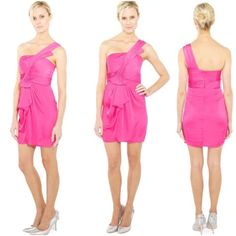 BCBGMAXAZRIA Begonia Pink Palais Cocktail Dress 4 Delicious begonia pink one-shoulder cocktail dress from BCBGMAXAZRIA.  Size 4.  Style name: Palais. Worn once to a wedding. No flaws. This dress is way too pretty to sit in my closet!  Classic fit. Satin/poly.  Draped and gathered in detail throughout. Concealed center back zipper with hook and eye closure. Authentic BCBG! Smoke-free home. NO TRADES. Make an offer! BCBGMaxAzria Dresses One Shoulder