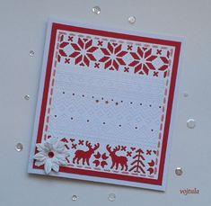 A ještě jedno vánoční přání s vyřezávací šablonou Sizzix, tentokráte v červeném provedení.