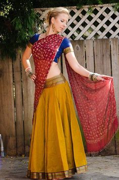 Mustard-Burgandy Gopi Skirt