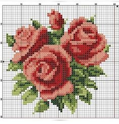 gráficos de flores em ponto cruz Cross Stitch Cards, Cross Stitch Rose, Cross Stitch Flowers, Cross Stitching, Cross Stitch Embroidery, Hand Embroidery, Cross Stitch Designs, Cross Stitch Patterns, Crochet Leaves
