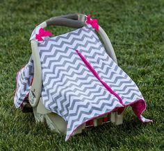 Gray Chevron Pink Minky Car Seat Canopy