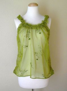 be95769c9f2eed whispering forest nymph babydoll camisole top s m . eco friendly fashion  blouse tattered boho gypsy mori girl upcycled clothing olive green