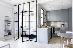 A Tiny Stockholm Apartment Makes the Most of 400 Square Feet Would love for my studio to look like this! -- A Tiny Stockholm Apartment Makes the Most of 400 Square Feet Cute Apartment, Small Apartment Kitchen, Kitchen Small, Apartment Ideas, One Room Apartment, Apartment Office, Apartment Goals, Shaker Kitchen, Apartment Living