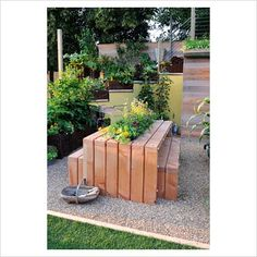 picnic table with herbs and vegetables in the middle