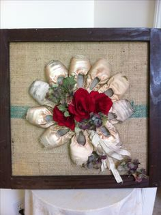 My mom and I took all my old point shoes and hot glued them, in this pattern, to an antique framed burlap wrapped wall hanging. We added silk flowers for a color pop and whalaaaa! I absolutely love it!