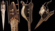 Indian Srirangam katar, c.1580's, very early type with down turning steel cover forming an attacking tiger head, damascus blade, very popular in the late 16th c. especially in Tanjore, classic form called Vijayanagara katar, most probably used in the big wars during the reign of Raghunätha Nayaka 1600-1634. The form of katars was simplified during 17th c. and until 19th c. katars were better known as a push daggers having just cross handles without any real cover for the hand.