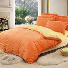Two-Color(Orange and Yellow) Velvet 4-Piece Twin/Queen/King Size Duvet Covers