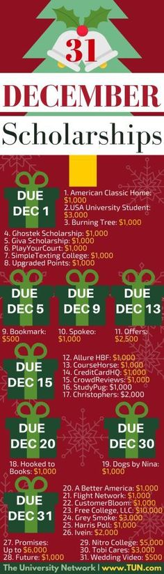 Tis the season to apply to scholarships! Here are 31scholarships withDecemberdeadlines!
