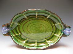 "Oval Server Moss - 2013 H 1.5"" L 12"" D 7.5"" Nova Scotia earthenware with slip and glazes. Joan Bruneau - Studio Potter - Lunenburg Nova Scotia - Work"