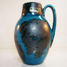 West German Pottery Vase • Scheurich • 414/16 • Original Label