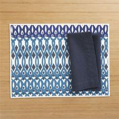 Malani Placemat and Helena Indigo Linen Napkin  | Crate and Barrel