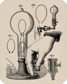 Light Bulb Diagram Digital Download Vintage Image Transfers For Prints Jewelry Cloth Pillows Clothing Tea Towels Tote Bags No. 134. $1.00, via Etsy.