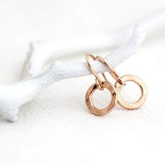 Yes please! Small Circle Rose Gold Earrings / Simple Little Pink Gold Hammered Earrings / Minimalist Rose Gold Jewelry. $23.00, via Etsy.
