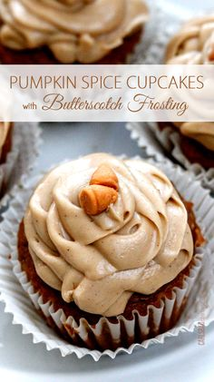 Pumpkin Spice Cupcakes with BUTTERSCOTCH Frosting - my favorite pumpkin anything! Super soft and mosit cupcakes with a hint of pumpkin, cinnamon, cloves and vanilla and SO EASY made partially from a cake mix with frosting that's out of this world!