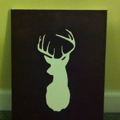 A painting I did with just a pencil, deer head cut out and brown paint.