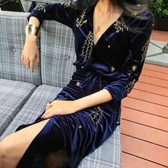 High End Party Velvet Dress Female Spring Summer 2017 Long Sleeve Gold Beading Irregular Pretty New Dark Blue Knee Length Dress-in Dresses from Women's Clothing & Accessories on Aliexpress.com | Alibaba Group