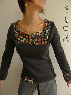 Petit Haut Nouvel Essai - - New Ideas Sewing Blouses, Sewing Shirts, Fashion Sewing, Diy Fashion, Womens Fashion, T Shirt Remake, Redo Clothes, Look Con Short, Jupe Short