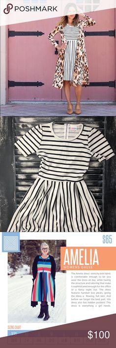 UNICORN  Amelia Dress   LuLaRoe Stripes  NWT vintage   square tag   black & white stripes LuLaRoe Dresses