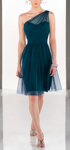 Teal Bridesmaid Dress: exact style but in mustard yellow and gold tulle. love the length too...