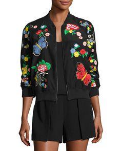 8a14d1505df Alice + Olivia Felisa Embroidered Bomber Jacket