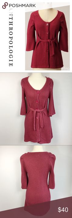 Tabitha Rhubarb Crisp Belted Cardigan Style: pretty raspberry color, front button closure & Tie belt Top of shoulder to bottom hem approx: 29 1/2 in Armpit to armpit approx: 14 1/2 in Fabric: 100% cotton  Flaws: none Condition: EUC   **measurements vary from brand to brand. Please use measurements provided to determine fit for your needs. I'm always happy to provide additional measurements if needed** Anthropologie Sweaters Cardigans