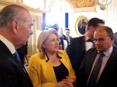H.E The President of Malta flanked to the left with the Chairman of the Broadcasting Authority, Mr Anthony J Tabone and to the right with Mr Pierre Cassar, CEO of the Broadcasting Authority