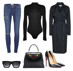 Navy x Black by glamourpl on Polyvore featuring polyvore, fashion, style, Reiss, WearAll, Paige Denim, Christian Louboutin, Fendi and CÉLINE