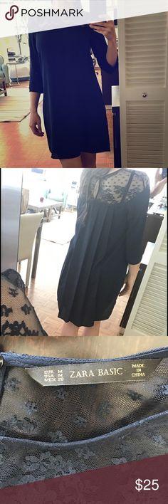 Zara navy blue dress Practically new Zara Dresses Mini