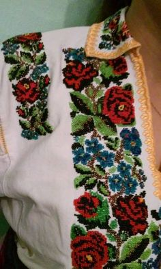 Ukraine, from Iryna Embroidery Patterns Free, Hand Embroidery, Polish Embroidery, Types Of Stitches, Cross Stitch Borders, Folk Fashion, Needlework, Diy And Crafts, Crochet