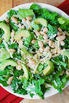 Caesar Salad with Cannellini Beans and Avocado.
