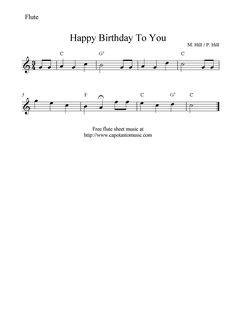 Free Sheet Music Scores: Happy Birthday To You, free flute sheet music notes