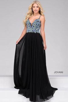 Gorgeous black floor length chiffon sleeveless prom dress with multi color beading on the bodice features plunging v-neckline with sheer panel.