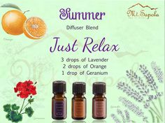 Just Relax, Diffuser Blends, Geraniums, Aromatherapy, Essential Oils, Pure Products, Essential Oil Uses, Essential Oil Blends