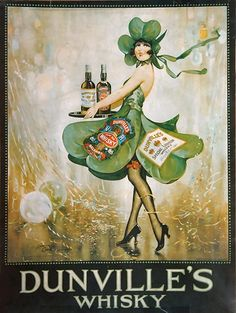 Vintage poster for Dunville's Irish Whisky. Vintage Wine, Vintage Ads, Vintage Images, Vintage Posters, Vintage Labels, Vintage Prints, Wein Poster, Fete Saint Patrick, Old Irish