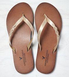 Gold AEO Braided Flip-Flop