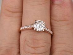 Compromiso de Moissanite brillante 1ct anillo de oro por popRing                                                                                                                                                                                 Más