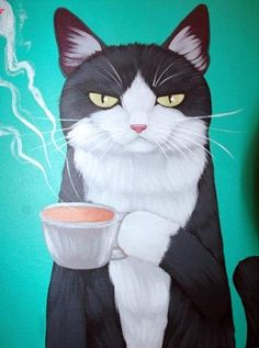 Kitty Loves the Pink Drink Original Coffee Cat Folk Art Painting Crazy Cat Lady, Crazy Cats, I Love Cats, Cool Cats, Motifs Animal, Cat Drawing, Cat Art, Cats And Kittens, Cats 101